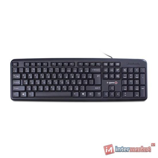 Клавиатура X-Game, XK-100UB, Ультратонкая, USB, Анг/Рус/Каз, Чёрный